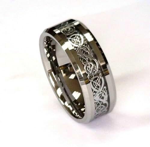 8Mm Silver Celtic Dragon On Black Carbon Fiber Tungsten Carbide Band All Sizes