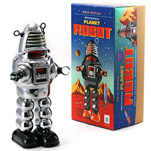 Off the Wall Toys Vintage Style Collectible Wind Up Chrome Planet Robot Wind Up 8.5