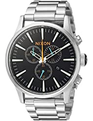Nixon Mens Sentry Chrono Quartz Stainless Steel Watch, Color:Silver-Toned (Model: A3862336-00)