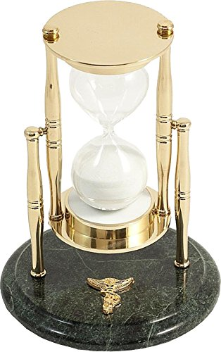Bey-Berk D824C Chiropractor Green Marble 30 Minute Sand Timer with Brass Accents,