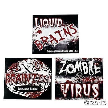 Zombie 2 Liter Drink Bottle Lables/Halloween Party/Undead Munchie Carrier/PARTY PACK -