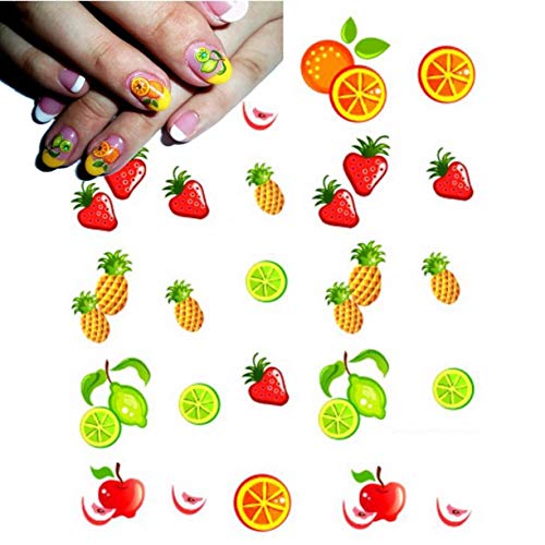 1 Pcs Strawberry Pineapple Orange Nails Art Stickers DIY Tips Water Transfer Nail Sticker Decals Women Acrylic Design Good Popular Gel Polish French Glitter Halloween Tool ()