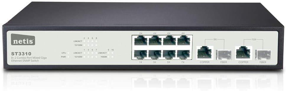 Monoprice 8FE+2 Combo-Port Gigabit Ethernet SNMP Switch 110741