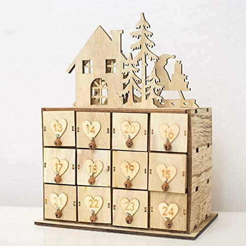 PROKTH Christmas Calendar Box - Wooden Advent Calendars Storage Box with 24 Storage Drawers Ornament Sundries Jewelry Box for Christmas Decoration