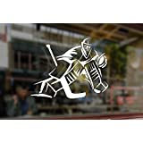 25x18cm White Sticker Vinyl Decal Art Goalkeeper Gamer Silhouette NHL Ice Hockey Player Sport Boy for Car Auto Bumper Glass Laptop Wall Window