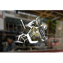 25x18cm White Sticker Vinyl Decal Art Goalkeeper Gamer Silhouette NHL Ice Hockey Player Sport Boy for Car Auto Bumper Glass Laptop Wall Window