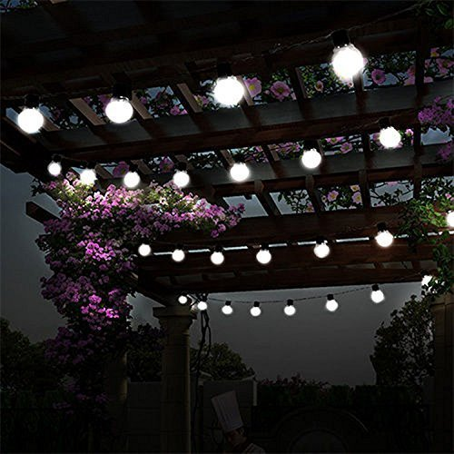 Cold White Garden Solar Bulb Lights,ROHSCE 3.5M 10 LED Plastic Solar Bulbs String Lights Waterproof with 2 Modes Lighting for Outdoor Christmas Decorations