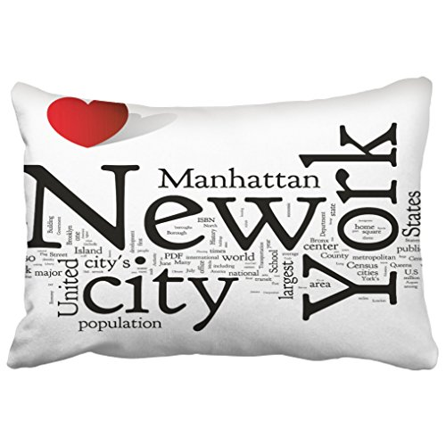 Emvency Decorative Throw Pillow Covers New York City Christmas New Year Queen 20x30 Inches(51x76cm) One Side Pillow Case Cover Cases Cushion Protectors Decor Couch Sofa]()