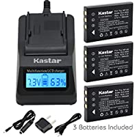 Kastar Ultra Fast Charger(3X faster) Kit and FNP60 Battery (3-Pack) for Hewlett Packard A1812A, L1812A, L1812B, Q2232-80001 and HP PhotoSmart R07, R507, R607, R607v, R607xi, R707, R707v, R707xi, R717, R725, R727, R817, R817v, R817xi, R818, R827, R837, R847, R926, R927, R937, R967 [Over 3x faster than a normal charger with portable USB charge function]