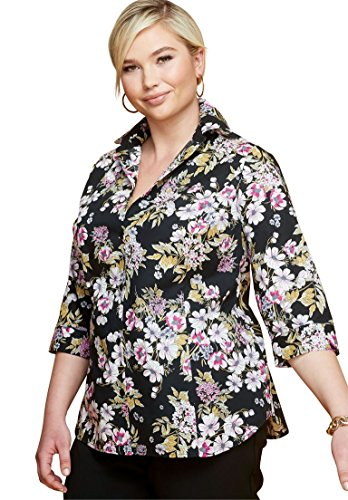 Jessica London Women's Plus Size Three-Quarter Sleeve Poplin Shirt Black Bouquet ()
