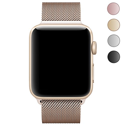 Walcase Fully Magnetic Closure Clasp Mesh Loop Milanese Stainless Steel iWatch Band for Apple Watch Series 3 Series 2 Series 1 Sport and Edition - 42mm Gold