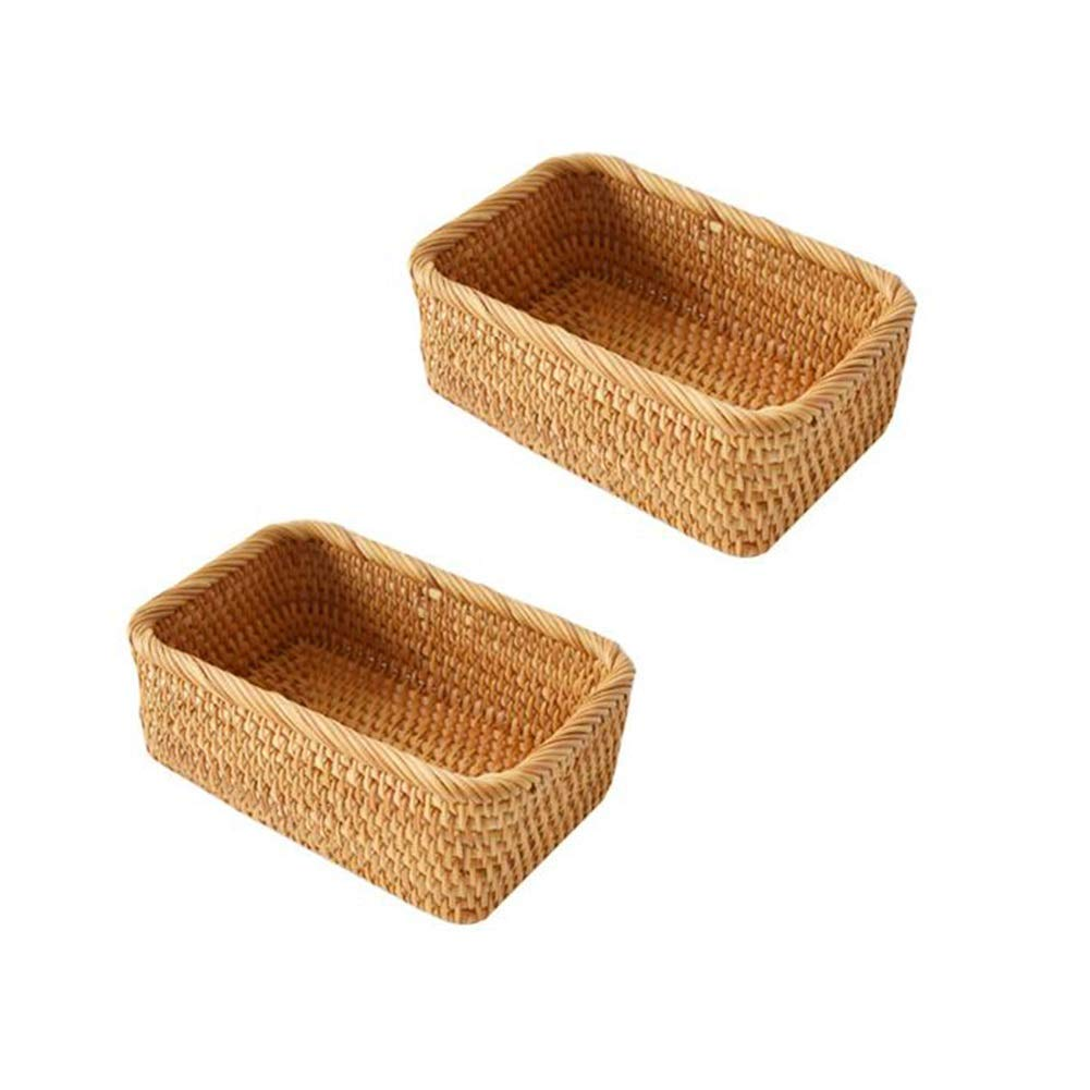 T1 MUMA Storage Baskets No Cover Rectangle Handwoven Rattan Home Organizer Bins(2 Packs) (Size   T1)