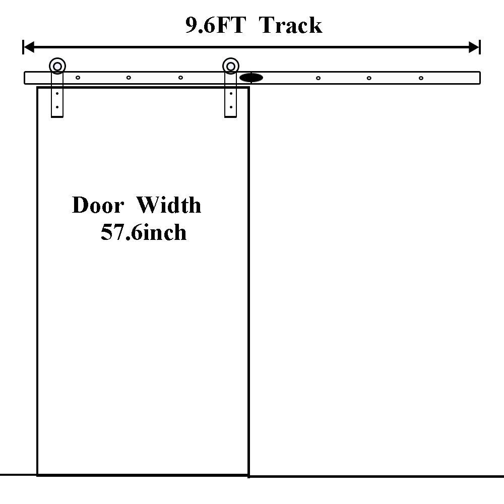 274cm Schiebet/ür aus Holz Barn Door Hardware Kit Schrank Set f/ür Doppelt/ür LWZH 9FT Schwarze I-f/örmige Kleiderb/ügel