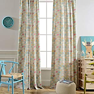 Melodieux Cartoon Elephant Flower Print Room Darkening Grommet Curtains Drapes for Kids Room Nursery Living Room, 52 by 96 Inch, Baby Blue(2 Panels)