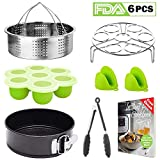 Tecvinci Instant Pot Accessories Set - Fits 5,6,8 Qt Instant Pot Pressure Cooker, Stainless Steel Steamer Basket/Egg Steamer Rack/Food Tongs/Food Grade Silicone Egg Bites Molds And Mini Mitts (6- pcs)
