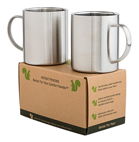 Stainless Steel Double Walled Mugs - Unique Comfort Handle BPA FREE 13.5oz Metal Coffee Mug Tea Cups - for Home Camping Outdoors RV Gift - Shatterproof Dishwasher Safe Set of 2 (Traditional Steel Stainless Mug)