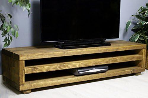 Mueble rústico Hecho a Mano de Madera de Pino para TV Kingston con Acabado en Roble Grueso 110cm Length Medium Oak: Amazon.es: Electrónica