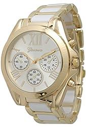 Women's Geneva Roman Numeral Gold Plated Metal/Nylon Link Watch - White