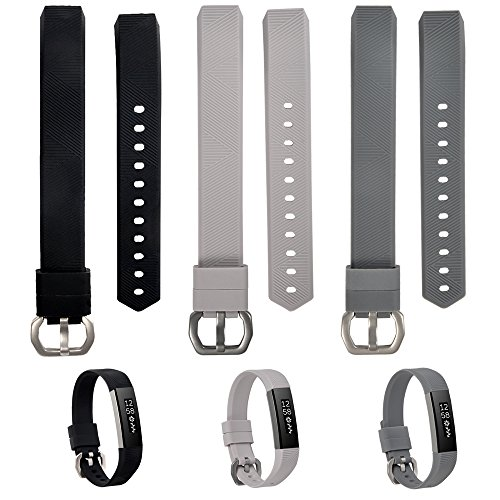 WISHTA Bands for Fitbit Alta/Fitbit Alta HR, 3PCS Newest Colorful Replacement Wristband with Secure Clasps for Fitbit Alta/Alta HR Only(No Tracker, Replacement Bands Only) (3PCS-1, L)