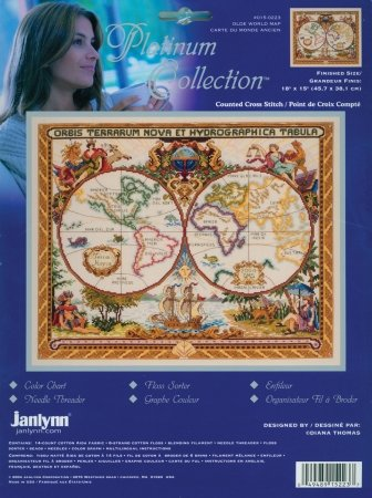 Janlynn 15-0223 Platinum Collection Olde World Map Counted Cross Stitch Kit-18X15 14 Count - Janlynn Platinum Collection
