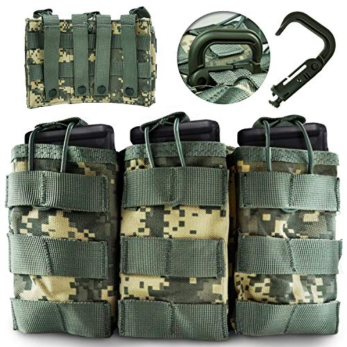 (DeltaSix MOLLE Taco Mag Pouch + D-Ring Camo Tactical Accessories for M4, M16, AR15, AK47 & AK74 30-Round Magazine - ACU Taco Attachment w/D Web Clip for Leo & Military LBV, FLV, PlateCarriers)