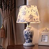 HH Modern New Chinese Style Desk Lamp Bedside Bedroom Living Room Ceramic Lamp