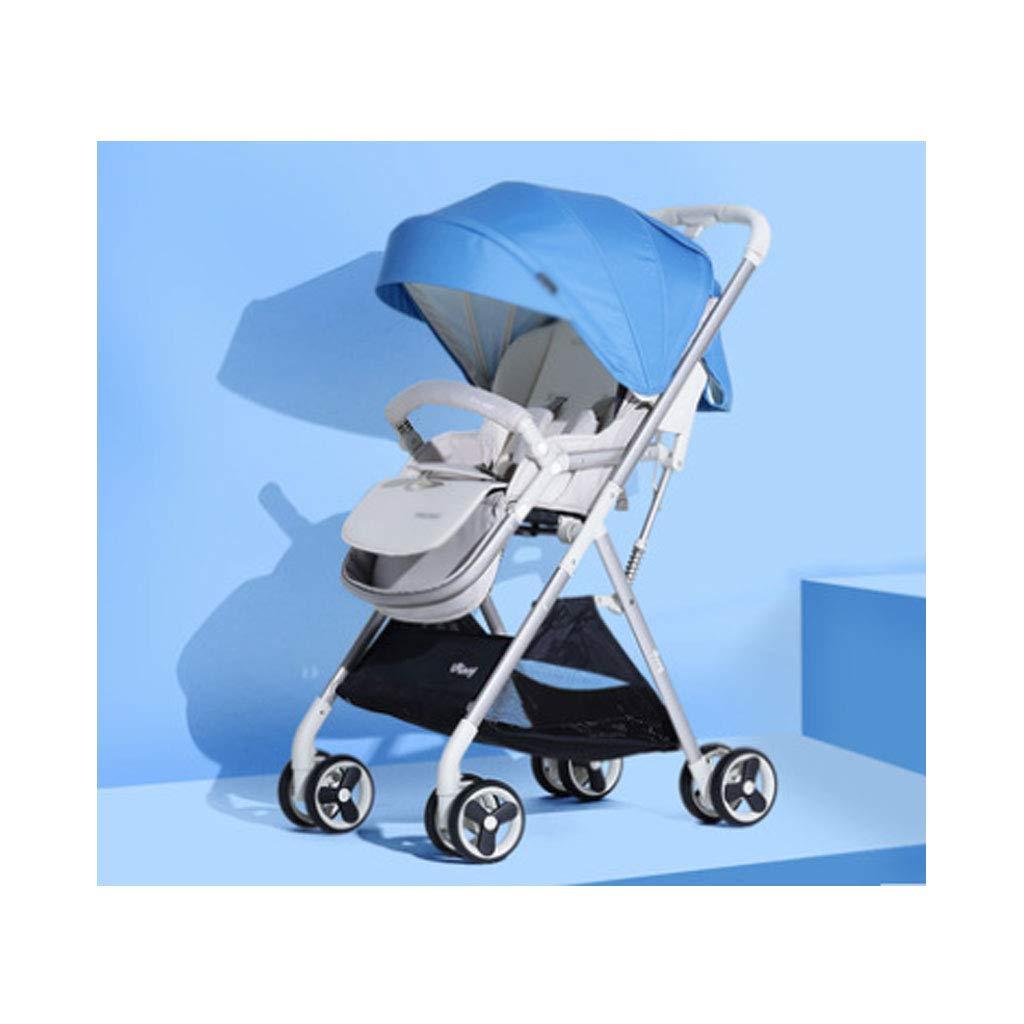 FZH Cochecito De Bebé, Alto Paisaje Puede Sentarse Y Plegarse,Blue