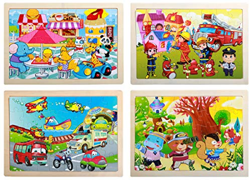 Wooden Jigsaw Puzzle For Kids Age 3 4 5 6 Children S Puzzle 40 Pieces Educational Animal Puzzles For Toddler Boys And Girls 4 Set