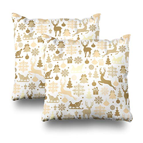 Geericy Set of 2 Decorative Throw Pillow Covers Christmas with Deers Reindeer Sleigh Christmas Tree Snowflake and Gifts Cushion Cover 18X18 Inch for Bedroom Sofa