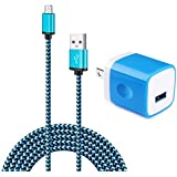 Wall Charger Adapter with 6ft Micro USB Cable, Charging Block Plug Cube Kakaly Charge Sync Cable Cord Compatible with Samsung Galaxy S6 S7 J7 Edge Note 5,LG,Kindle,Xbox,PS4,Camera and More