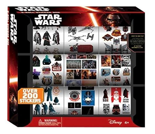 Disney Star wars Episode 7 VII (The Force Awakens ) 9 Roll Sticker Box (Over 200 Stickers )