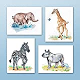 Painted Baby Safari Animals Art Prints. Home/Nursery Decor (8''x10'', (4) Set of Four)