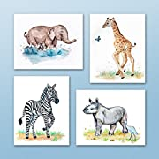 Painted Baby Safari Animals Art Prints. Home/Nursery Decor (8 x10 , (4) Set of Four)