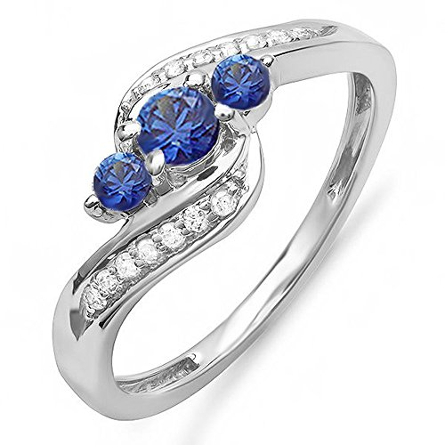 14K White Gold Round Blue Sapphire And White Diamond Ladies Swirl Engagement 3 Stone Bridal Ring