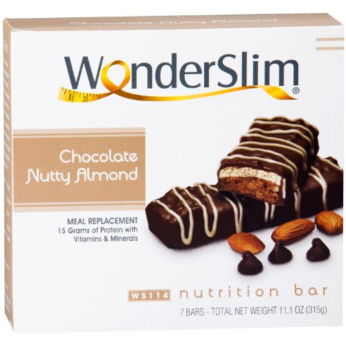 WonderSlim High Protein Meal Replacement Bar - High Fiber, Kosher, Chocolate Nutty Almond (7 Count) by WonderSlim