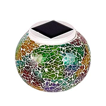 Mosaic Glass Outdoor Solar Power Light Color Changing Lawn Ball Lantern Led Light Yard Garden Holiday Decoration Lighting Lamps Access Control Security & Protection