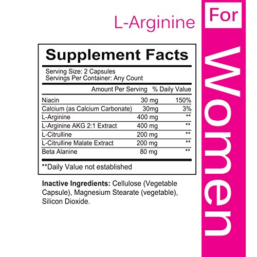 FLASH SALE L arginine For WOMEN, With Essential Amino Acids To Boost Nitric Oxide Levels, Endurance And Energy, With Beta Alanine To Fight Fatigue, Made In USA 60 Veggie Capsules