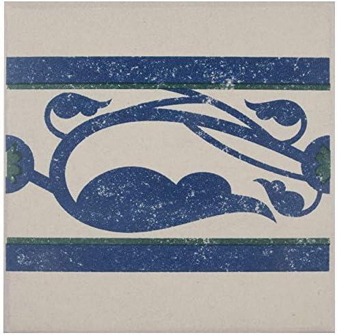 "SomerTile FNU7CQDF Zementu Quatro Deco Porcelain Floor and Wall Border Tile, 7"" x 7"", White/Blue/Green 141[並行輸入]"