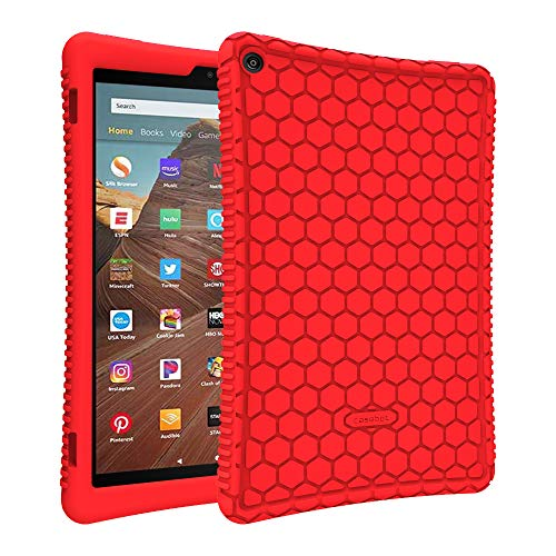 Fintie Silicone Case for All-New Amazon Fire HD 10 (Compatible with 7th and 9th Generations, 2017 and 2019 Releases) - [Honey Comb Series] [Kids Friendly] Light Weight Shock Proof Back Cover, Red