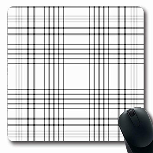 LifeCO Computer Mousepad Plaid Tartan Checkered British Pattern White Black English Kilt Abstract Design Checked Oblong Shape 7.9 x 9.5 Inches Oblong Gaming Non-Slip Rubber Mouse Pad Mat ()