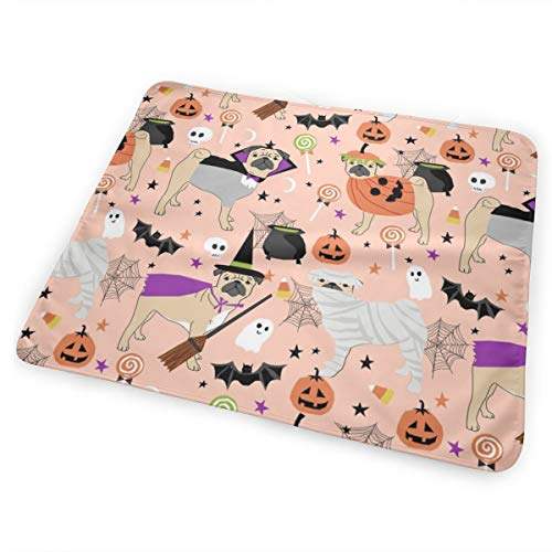 Pug Halloween Costume - Cute Dogs in Costumes - Peach Baby Portable Reusable Changing Pad Mat 31.5x21.5 inches