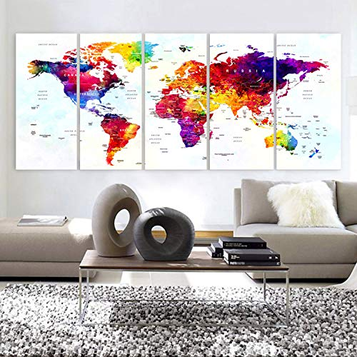 framed world map with push pins - 5
