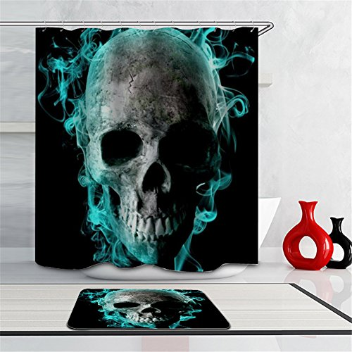 Novelty Skull Shower Curtain Set,Cool Buring Skull Black Blue,Thick Polyester Fabric Curtains for Bathtub Shower Stall--( 72 X 72 inch, With Steel Hooks )