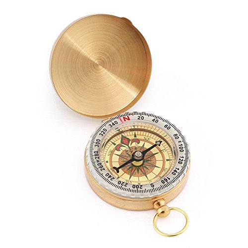 Price comparison product image SUNFUNG Copper Clamshell Compass Waterproof Luminous Compass Camping Gear Survival Gear