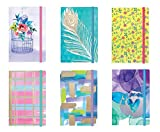Personal Notepad Set Stationery (6 Notepads Total) w/ Elastic Band - 5.125'' x 3.5'' Paper Size, Includes Beautifully Illustrated Covers w/ Foil Finishes, 6 Vibrant Designs (Set 2) Unlined Pages