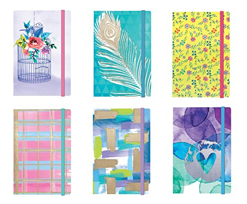 Personal Notepad Set Stationery (6 Notepads Total) w/ Elastic Band - 5.125'' x 3.5'' Paper Size, Includes Beautifully Illustrated Covers w/ Foil Finishes, 6 Vibrant Designs (Set 2) Unlined Pages by B-THERE