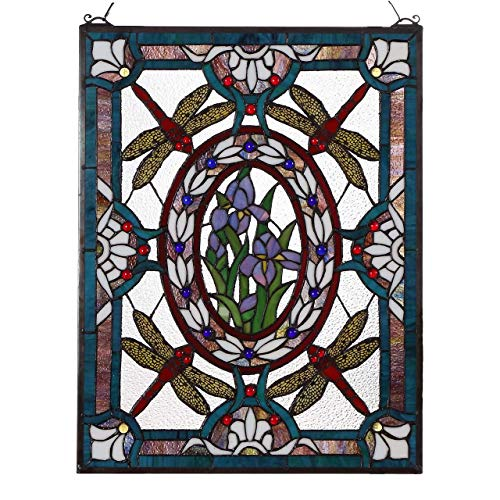 Bieye W10031 25 inches Dragonfly Floral Tiffany Style Stained Glass Window Panel with Hanging Chain
