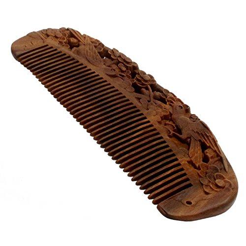 Cute Halloween Snags (YOY Handmade Carved Natural Sandalwood Hair Comb - Anti-static No Snag Brush for Men's Mustache Beard Care Anti Dandruff Women Girls Head Hair Accessory (HC1004))