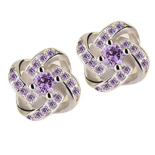 Hattfart Solid Simple White Gold Star Cut Cubic Zirconia Stud Earrings Screw Back Posts ()