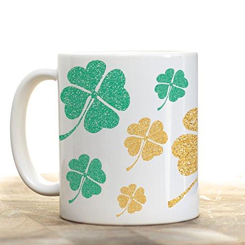 Saint Patrick's Day Gold and Green Clover Leaf Mug 11oz Ceramic, St Pattys Decor, Gift under 20